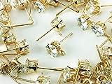 ノーブランド品 ピアスパーツ ゴールド KC金 40個 セット ラインストーン 付き カン付き ラインストーンピアス ピアス金具 アクセサリーパーツ (AP0343)