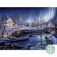 Mocmm ダイヤモンド塗装キット大人用フルドリル冬の自然の風景ラインストーンクロスステッチ刺繍写真アートクラフトホーム壁の装飾, (30X40 cm/12X16 インチ)