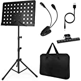 Music Sheet Stand Foldable and Adjustable with Stand Clip Light Carrying Bag Black
