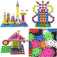 100個プラスチックマルチカラースノーフレークビルディングブロック学習教育玩具