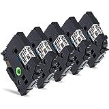 互換 ピータッチテープ 白 ブラザー工業 tzeテープ 12mm TZe-231 ピータッチキューブ Brother P-touch Cube PT-J100 PT-J100W PT-190 PT-P300BT PT-P710BT 汎用, 5個