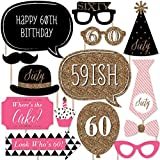 Chic 60th Birthday - Pink, Black and Gold - Photo Booth Props Kit - 20 Count