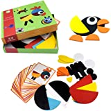 BrilliantMagic Wooden Pattern Blocks Animals Jigsaw Puzzle Sorting and Stacking Games Montessori Educational Toys for Toddler