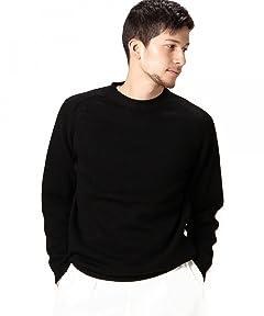 Middle Gauge Cotton Crewneck Sweater 1213-105-3073: Black