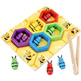 TOYANDONA 1 Set Clamp Bee to Hive Matching Game Wooden Color Sorting Toy Montessori Preschool Learning Toys  Children