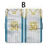 iPhone スマホケース 手帳型 全機種対応 人気 バスケットボール BASKETBALL CURRY カリー ユニフォーム NBA 国産PUレザー カード収納 動画視聴スタンド機能 (iPhone6/6s, B)