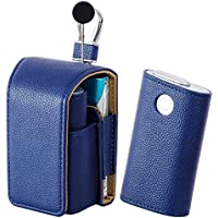 電子タバコ ケースglo グロー ケースライチ紋収納ケース2点セット全面保護glo電子タバコ収納ケース (ネイビー)