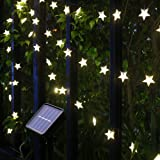Xingpold Solar Star String Lights Outdoor,Waterproof Solar Powered Christmas Twinkle Fairy String Lights,23FT 50LED 8Modes So