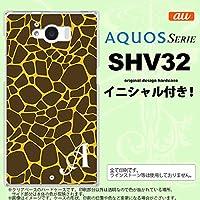 SHV32 スマホケース AQUOS SERIE カバー アクオス セリエ イニシャル キリン柄(型抜) 黄 nk-shv32-415ini A