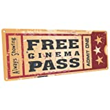 Home Cinema Metal Sign Ticket to the Movie Media Room Family Room Bar Den Decor by OMSC