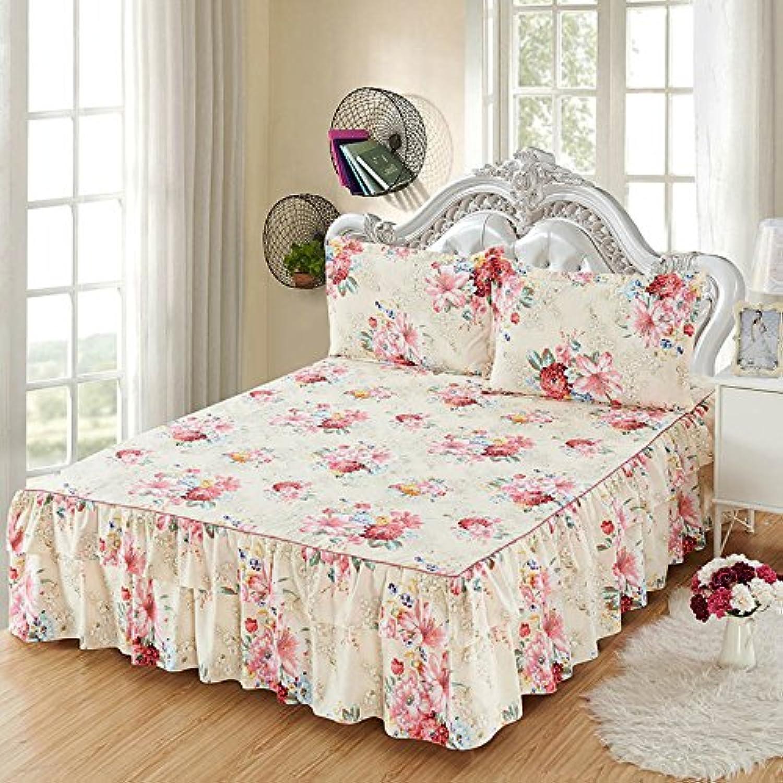 ZHIYUAN フリルベッドスカートと2つの枕カバーセット,セミダブル
