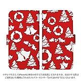 おてがるスマホ01 ケース [デザイン:09.クリスマスパターン/マグネットハンドあり] 手帳型 スマホケース カバー UQ mobile モバイル kyocera KYV44 otegaru01