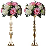 2 Pieces 50cm Height Metal Candle Holder Candle Stand Wedding Centerpiece Event Road Lead Flower Rack (Glod x 2)