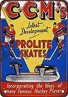 Shimaier 壁の装飾 メタルサイン ウォールアート - CCM Prolite Hockey Skates 縦20×横30cm ヴィンテージ風 ライセンスプレート メタルプレート ブリキ 看板 アンティーク レトロ