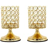 Vincidern 2 Pcs Gold Crystal Candle Holders Centerpiece, Pillar Candle Hurricane Candleholders, Table Decoration Candlestick