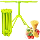 Kitchen Pasta Drying Rack Folding, iPstyle Spaghetti Drying Rack Noodle Stand with 10 Bar Handles Green (Drying Rack)