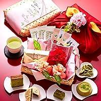 伊藤久右衛門 母の日 ギフト プレゼント 宇治抹茶スイーツ カーネーション 造花 花の包装 セット 竹かご風呂敷包み