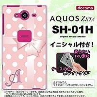 SH01H スマホケース AQUOS ZETA ケース アクオス ゼータ ソフトケース イニシャル ドット・リボン ピンク nk-sh01h-tp303ini J