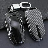 テスラモデル3モデルSのために1個車のキーカバーフォブケースチェーン 黒のオートキーケースカバーの装飾