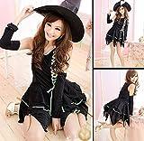 グリーン 魔女 コスプレ セット (帽子 ドレス アームカバー 特製ブレスレット) Lサイズ