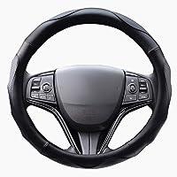 ZATOOTO ハンドルカバー 軽自動車 sサイズ ステアリングカバー 3Dグリップ滑り止め 手触りよし レザー ブラッ…