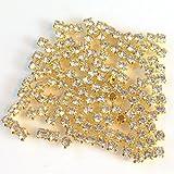 A級ラインストーン3mm(クリスタル)(50個)ゴールド台座付ビジューアクセサリーパーツ ハンドメイド 手芸材料