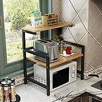 SHYPwM キッチン電子レンジオーブン棚2層オーブンラック床置き2段木製炊飯器棚(サイズ:60x41x67cm) (Color : B)