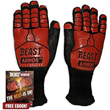 Grill Beast BBQ Grilling Cooking Gloves - Heat Resistant Kevlar & Silicone Insulated Protection - Smoker and Kitchen Acc
