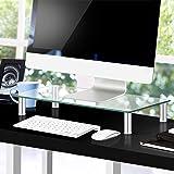 Artiss Monitor Stand Riser Computer TV Laptop Screen Desktop Tempered Glass Display Shelf Clear w/Aluminium Adjustable Legs S