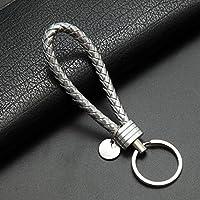 Yipingクリエイティブキーリングギフト人気レザーストラップ織りロープキーリングキーチェーンキーチェーンギフト(シルバー)