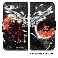 スマホケース 手帳型 [AQUOS SERIE SHV32] ケース おしゃれ かわいい ゴシックデザイン 柄 0170-C. 紅宝石の羽 shv32 手帳型ケース アクオス セリエ スマホゴ