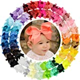 WillingTee 30 Pieces Big 6 Inch Boutique Grosgrain Ribbon Hair Bows Big Baby Girls Bows Headbands for Baby Girls Infants Todd