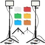 【2021進化版】FOSITAN 撮影用ライト 5600K 調光可能 USB 2パック カラーフィルター 撮影照明ライト ビデオライト 照明キット 多機能ライトスタンド 照明 撮影 LEDライト 生放送 YouTubeビデオ撮影 スタジオライト 写真