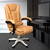 Gaming Chair Office Computer Seat Racing PU Leather Executive Racer Recliner Bronze Without footrest