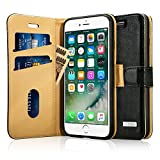 Labato iPhone7 ケース 手帳型 本革レザー アイフォン7カバー TPU 財布型 スタンド機能 カードポケット 手作り ハンドメイド 耐摩擦 耐汚れ 全面保護 フリップ 人気 (ブラック lbt-IP7-01Z10)