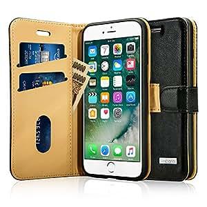 Labato iPhone 7 Plus ケース 手帳型 本革レザー アイフォン7プラス カバー TPU 財布型 スタンド機能 カードポケット 手作り ハンドメイド 耐摩擦 耐汚れ 全面保護 フリップ 人気 (ブラック lbt-I7L-02Z10)