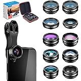 Apexel 10 in 1 Cell Phone Camera Lens Kit Wide Angle Lens & Macro Lens+Fisheye Lens+Telephoto Lens+CPL/Flow/Radial/Star Filte