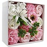 ソープフラワー、誕生日記念日、母の日バレンタインデープロモーションムーブメントなど最適ギフトメッセージカード付きギフトボックス付き (ピンクローズ+カーネーション)