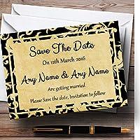 ヴィンテージブラックダマスクはがきスタイルPersonalized結婚を保存日付カード 10 Invitations