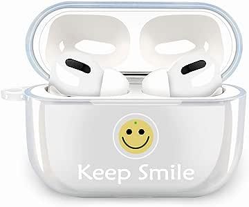 EZHome Airpods proに適用保護ケースカバー 高品質シリコンイヤホン収納ケースカバー 耐衝撃 LEDライトが見える ワイヤレス充電可能 紛失防止 可愛い  笑顔
