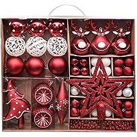 Valery Madelyn クリスマス オーナメント セット 92個入り 红白色 北欧風 ボールクリスマス ツリー 飾り 飾り付け おしゃれ ゴージャス