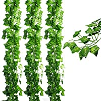 JPSOR フェイクグリーン 人工観葉植物 アイビー 造花 24本 壁掛け インテリア 結婚式 グリーン ウォール デコレーション 植物装飾