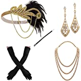 1920s Flapper Gatsby Costume Accessories Set 20s Flapper Headband Pearl Necklace Gloves Cigarette Holder (pd)