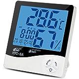 タイムセール中!デジタル湿度計 温度計 目覚まし時計 室内温湿度計 置き掛け両用タイプ バックライト/アラーム/日付/最高最低温湿度表示