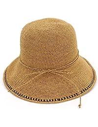 XZP 夏のストロー帽子、夏のファッションワイドブリムフロッピーの手はラフィア折りたたみ式抗UVサマービーチサン帽子女性のために作ら