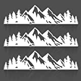 JINZHAO Tree Sticker Car or Laptop Decal Vinyl Mountain Stickers Outdoor Bumper Stickers (Pack of 3) (White)