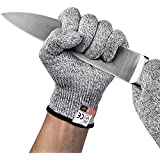 [2019 Upgrade] BYETOO 1Pair Cut Resistant Gloves Food Grade Level 5 Protection,Safety Kitchen Cut Gloves for Oyster Shucking,Fish Fillet Processing,Mandolin Slicing,Meat Cutting and Wood Carving,Large