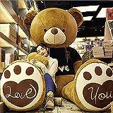 ぬいぐるみ くま 特大 テディベア 可愛い熊 抱き枕 クマ クリスマス バレンタインデー 誕生日 プレゼント 手触り ふわふわ 動物 ぬいぐるみ (ブラック衣服ブラウン熊, 180cm)