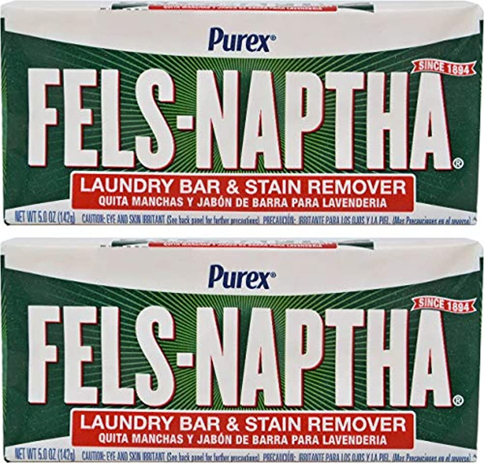 溶岩災難安全なFels Naptha Heavy Duty Laundry Soap Bar - 5.5 oz - 2 pk by Fels Naptha