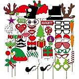 カラフル写真ブース小道具楽しいSelfies – ハロウィーンテーマ – Glasses Lips Tiesひげ帽子Antlers木ギフトセット – 7個